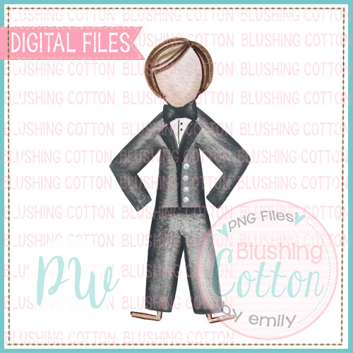 STICK FIGURE GROOM BRUNETTE HAIR BCPW