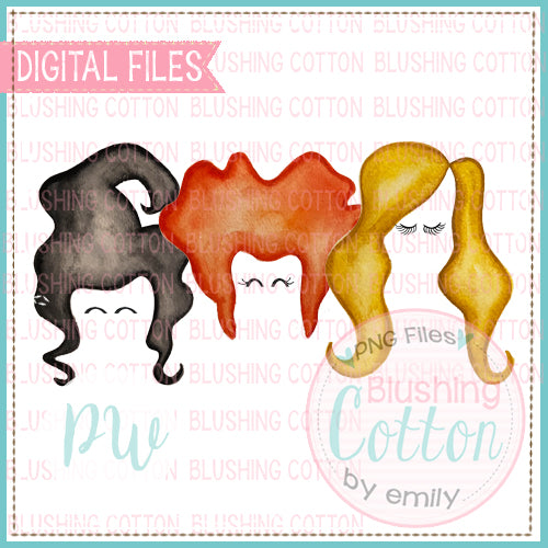 WITCHY HAIR TRIO FACES DESIGN WATERCOLOR PNG BCPW