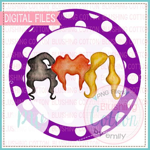 WITCHY HAIR TRIO PURPLE DOT OUTLINE CIRCLE PNG BCPW