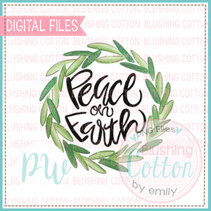 PEACE ON EARTH WREATH WATERCOLOR DESIGN BCPW