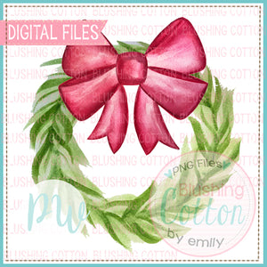 WREATH GREENERY WITH RED BOW DESIGN WATERCOLOR PNG BCPW
