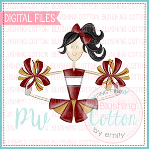 CHEERLEADER BLACK HAIR MAROON AND GOLD DESIGN    BCPW