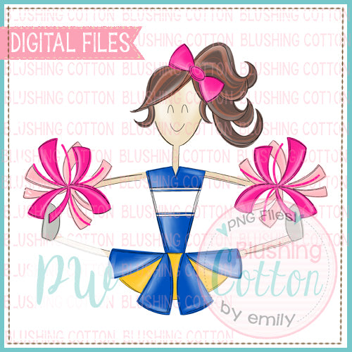 CHEERLEADER BRUNETTE HAIR ROYAL AND YELLOW WITH PINK POMPOMS  BCPW