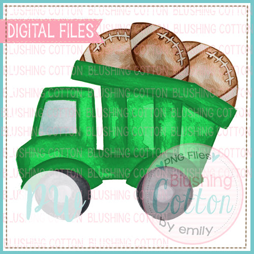 GREEN DUMPTRUCK WITH FOOTBALLS BCPW