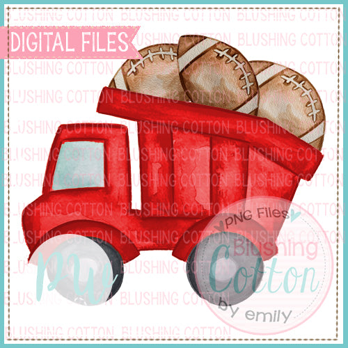 RED DUMPTRUCK WITH FOOTBALLS BCPW