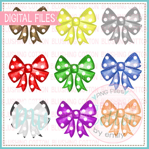 POLKA DOT BOWS SET 1 WATERCOLOR DESIGNS PNG DIGITAL FOR PRINTING AND OTHER CRAFTS