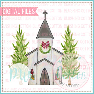 CHURCH WITH TREES AND WREATH CHRISTMAS BCPW