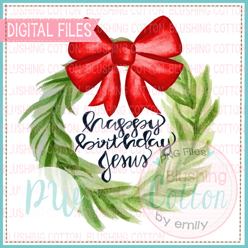 WREATH RED BOW HAPPY BIRTHDAY JESUS BCPW
