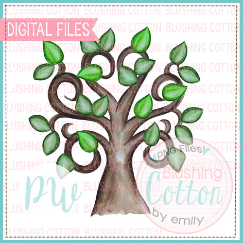 FAMILY TREE WATERCOLOR HAND PAINTED DESIGN FOR PRINTING AND OTHER CRAFTS BCPW