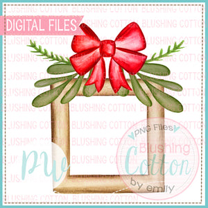 FRAME WITH RED BOW AND GREENERY BCPW