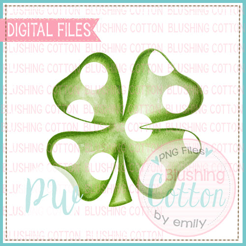FOUR LEAF CLOVER POLKA DOT WATERCOLOR DESIGN BCPW