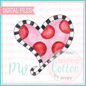 HEART POLKA DOT AND BLACK STRIPES WATERCOLOR DESIGN BCPW