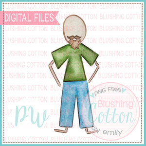 STICK FIGURE ADULT MALE BALD AND MUSTACHE WATERCOLOR DESIGN BCPW