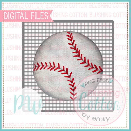 BASEBALL WITH GRAY CHECKERED BACKGROUND WATERCOLOR DESIGN BCPW