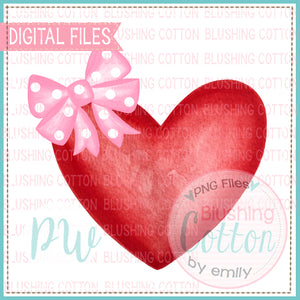 HEART 1 RED WITH PINK POLKA DOT BOW WATERCOLOR DESIGN BCPW