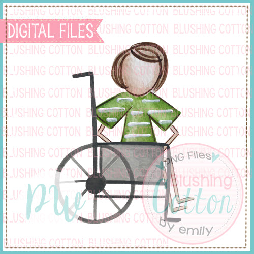 STICK FIGURE BOY BROWN HAIR IN WHEELCHAIR WATERCOLOR DESIGN BCPW