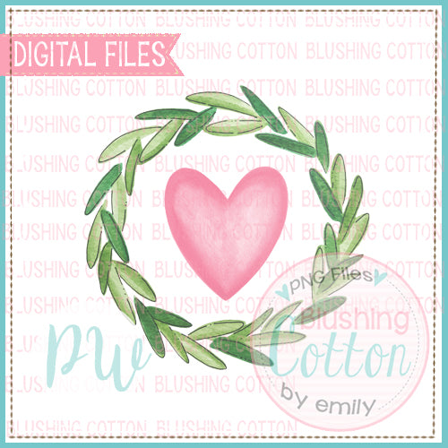 WREATH 2 WITH PINK HEART WATERCOLOR DESIGN BCPW