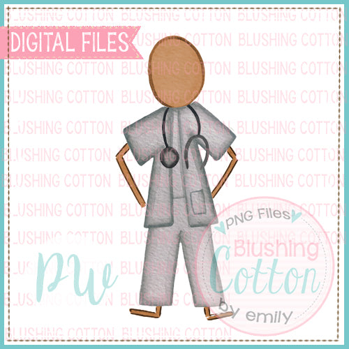 STICK FIGURE ADULT MALE DOCTOR AFRICAN AMERICAN BALD WATERCOLOR DESIGN BCPW