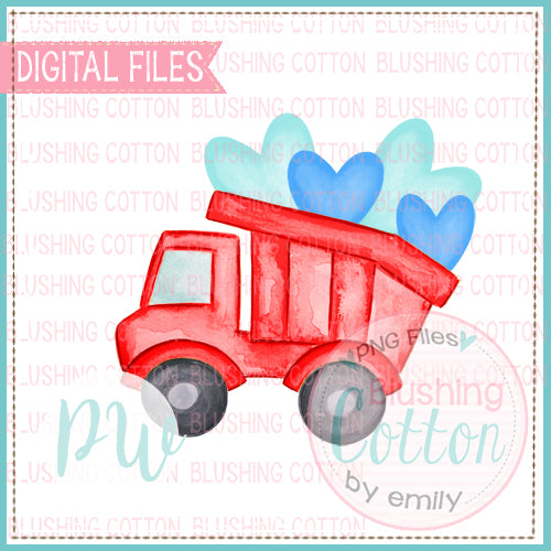 DUMP TRUCK WITH HEARTS WATERCOLOR DESIGN BCPW