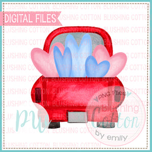 TRUCK BACK RED WITH HEARTS WATERCOLOR DESIGN BCPW