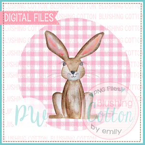 PINK BUNNY ON PINK CHECKERED CIRCLE BACKGROUND WATERCOLOR DESIGN BCPW