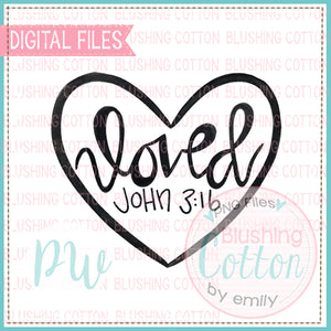 HEART BLACK OUTLINED LOVE  JOHN 3 16 WATERCOLOR DESIGN BCPW