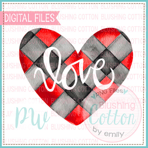 HEART RED AND BLACK PLAID LOVE WATERCOLOR DESIGN BCPW