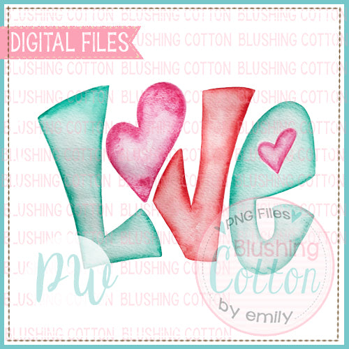 LOVE VALENTINE WORD ART WATERCOLOR DESIGN BCPW