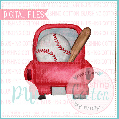 TRUCK BACK RED WITH BASEBALL AND BAT WATERCOLOR DESIGN BCPW
