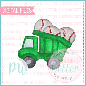DUMP TRUCK GREEN WITH BASEBALLS WATERCOLOR DESIGN BCPW