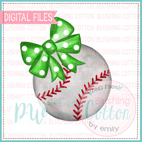 BASEBALL WITH GREEN POLKA DOT BOW WATERCOLOR DESIGN BCPW