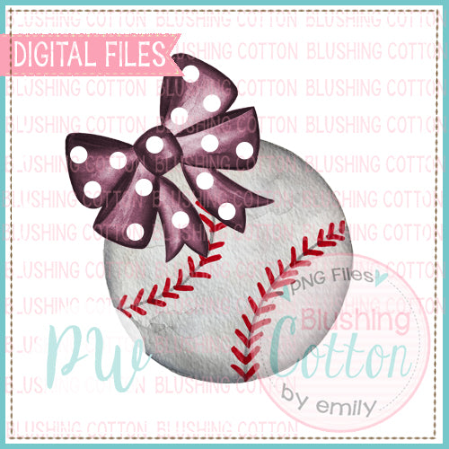 BASEBALL WITH MAROON POLKA DOT BOW WATERCOLOR DESIGN BCPW