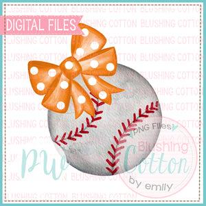 BASEBALL WITH ORANGE POLKA DOT BOW WATERCOLOR DESIGN BCPW