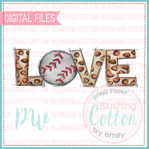 LOVE LEOPARD WITH BASEBALL WATERCOLOR DESIGN BCPW
