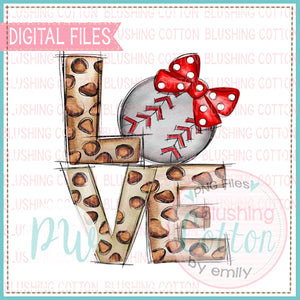 LOVE LEOPARD WITH BASEBALL RED  BIOW WATERCOLOR DESIGN BCPW