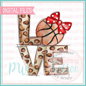 LOVE LEOPARD PRINT WITH BASKETBALL WITH RED BOW WATERCOLOR DESIGN BCPW