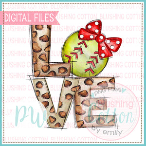 LOVE LEOPARD WITH SOFTBALL WITH RED BOW WATERCOLOR DESIGN BCPW