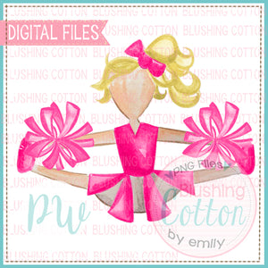 CHEERLEADER PINK WITH PINK POMPOM BLONDE HAIR WATERCOLOR DESIGN BCPW
