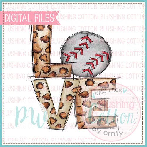 LOVE LEOPARD BASEBALL WATERCOLOR DESIGN BCPW