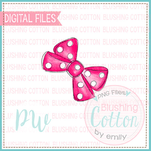HOT PINK POLKA DOT BOW ADD ON WATERCOLOR DESIGN BCPW