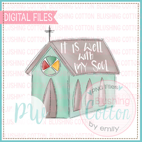 CHURCH IT IS WELL WITH MY SOUL WATERCOLOR DESIGN BCPW
