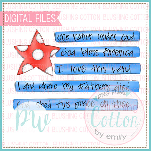 AMERICAN FLAG WITH WORDING WATERCOLOR DESIGN BCPW