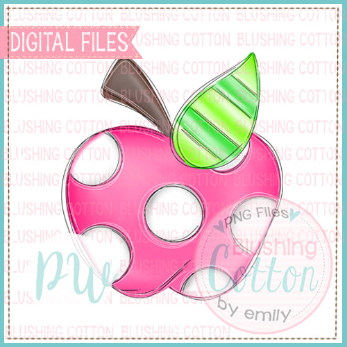 APPLE HOT PINK AND WHITE POLKA DOT  WATERCOLOR DESIGN BCPW