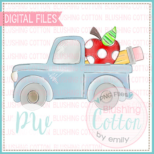 OLD TRUCK BACK TO SCHOOL DESIGN WATERCOLOR DESIGN BCPW