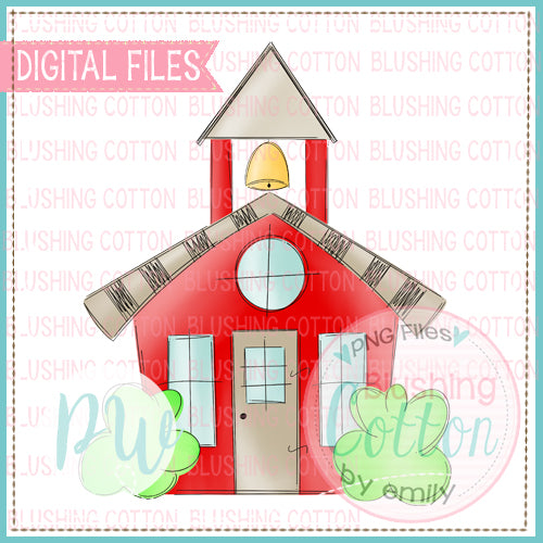BACK TO SCHOOL RED SCHOOL HOUSE DESIGN WATERCOLOR DESIGN BCPW
