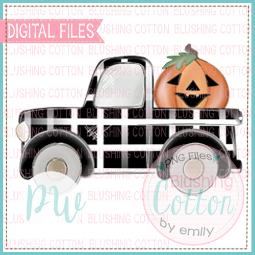 OLD TRUCK BLACK AND WHITE CHECK WITH JACK O LANTERN  BCPW