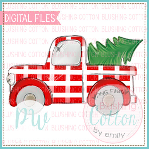 OLD TRUCK RED PLAID WITH CHRISTMAS TREE  BCPW