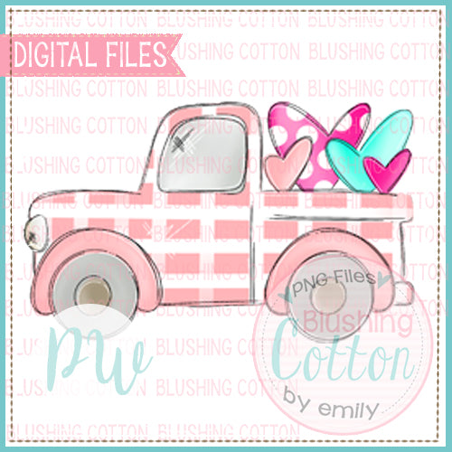 OLD VALENTINE TRUCK PINK WITH HEARTS  BCPW