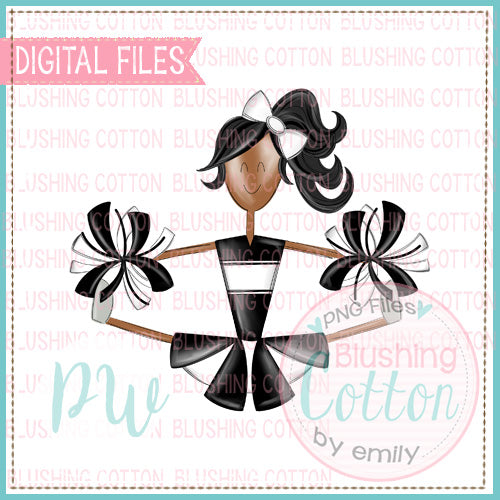 CHEERLEADER AFRICAN AMERICAN BLACK AND WHITE DESIGN   BCPW