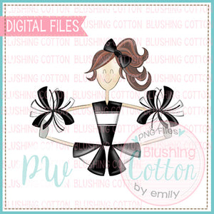 CHEERLEADER BRUNETTE HAIR BLACK AND WHITE DESIGN    BCPW